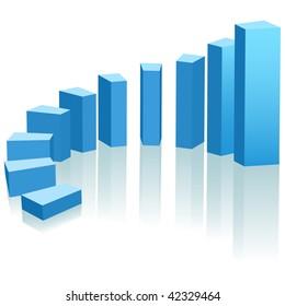 A growth chart of upward progress as an arc of blue bars.