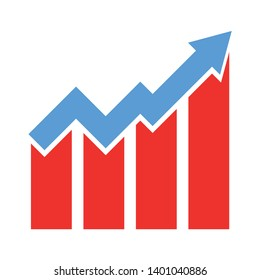 Growth chart vector icon. filled flat sign for mobile concept and web design. Growing graph glyph icon. Symbol, Graph chart sign icon. Diagram symbol