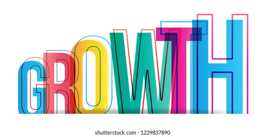Growth colorful vector word
