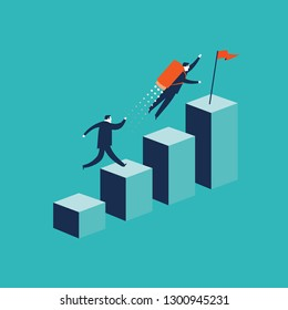 Growth concept with businessman jumping on chart columns.