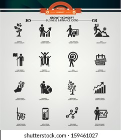 Growth concept icons,Black version,vector