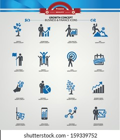 Growth concept icons,Blue version,vector