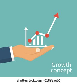 Growth concept. Man holds in hand a business chart. Financial diagram, graphics. Vector illustration flat design. Isolated on background.