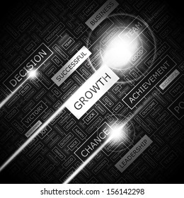 GROWTH. Concept vector illustration. Word cloud with related tags and terms. Graphic tag collection. Wordcloud collage.