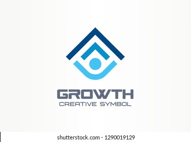 Growth creative symbol concept. Human professional progress abstract business leader logo. Person career success, best education, arrow shield icon. Corporate identity logotype, company graphic design