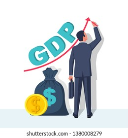Growth GDP. Government budget, public spending. Businessman raises up arrow graphics. Dollar bag, coin gold. Increment in annual financial budget. Vector flat design. Isolated white background.