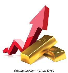 Growth of the Gold in financial world. Investing Banking business. Vector illustration