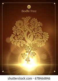 The growth of the golden bodhi tree (Sacred tree, Ficus religiosa L.) is a symbol that uses Buddhism. vector illustration