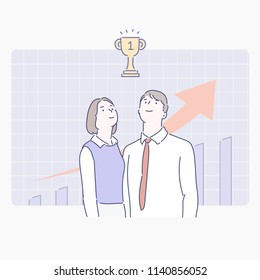 growth graph background and business man and woman character. hand drawn style vector design illustrations.