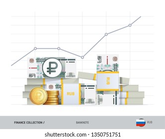 Growth graph with bundles of 1000 Russian Ruble banknotes and coins. Flat style vector illustration. Financial and economy concept.