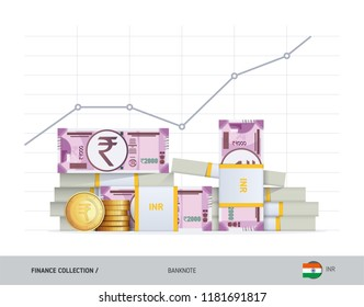 Growth graph with bundles of 2000 Indian Rupee Banknotes and coins. Flat style vector illustration. Financial and economy concept.