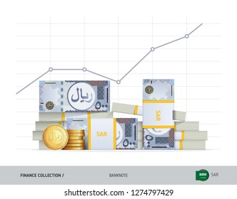 Growth graph with bundles of 500 Saudi Arabia Riyal Banknotes and coins. Flat style vector illustration. Financial and economy concept.