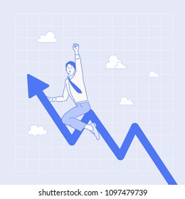 growth graph and business character. hand drawn style vector doodle design illustrations.