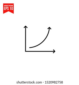 Growth graph icon template black color editable. Chart symbol vector sign isolated on white background. Simple logo vector illustration for graphic and web design.