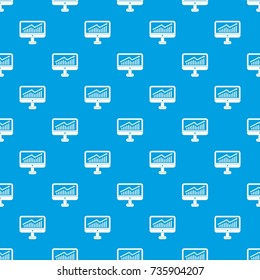 Growth graph on the computer monitor pattern repeat seamless in blue color for any design. Vector geometric illustration