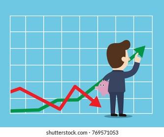 Growth graph. Profit Stock Market.Businessman adjust an uptrend grapha chart of financial growth.Business concept. Vector flat cartoon illustration flat design.