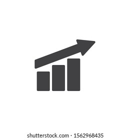 Growth graph up vector icon. Financial chart arrow filled flat sign for mobile concept and web design. Growing bars grap glyph icon. Symbol, logo illustration. Vector graphics