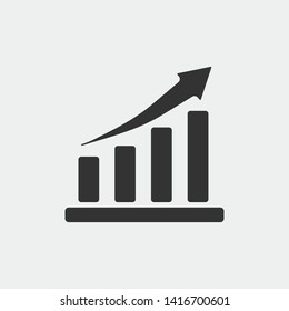 Growth graph vector icon illustration sign