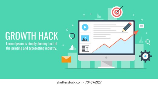 Growth Hack, Internet marketing hacks, idea flat vector