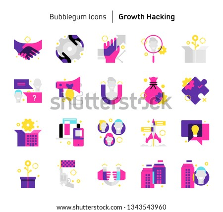 Growth Hacking Bubblegum Icons Illustrations Vector Stock