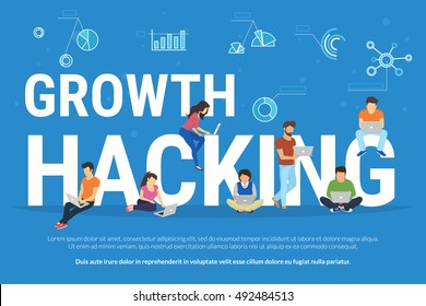 Growth hacking concept illustration of young people using gadgets such as laptop, tablet pc and smartphone for growth hacking the project. Flat design of business background with infographic symbols