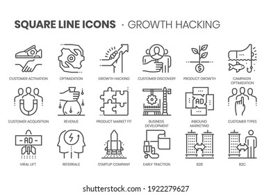 Growth hacking flat, square line icon set. The illustrations are a vector, editable stroke, thirty-two by thirty-two matrix grid, pixel perfect files.