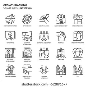 Growth hacking, square icon set. The illustrations are a vector, editable stroke, thirty-two by thirty-two matrix grid, pixel perfect files. Crafted with precision and eye for quality.