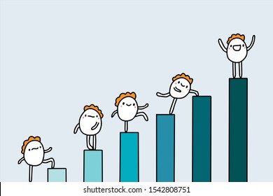 Growth hand drawn vector illustration in cartoon comic style with cute people finance business culture career money income