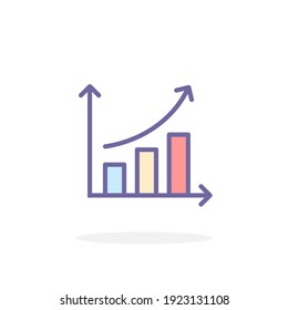 Growth icon in filled outline style. For your design, logo. Vector illustration.