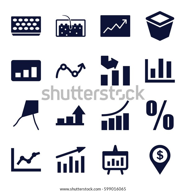 growth icons set. Set of 16 growth filled icons such as graph, pot for plants, hair, line graph, chart, percent, dollar location