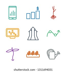 growth icons. Trendy 9 growth icons. Contain icons such as watering can, sprout plants, plant, graph, arrows up, graph on display, sprout, money chart. growth icon for web and mobile.