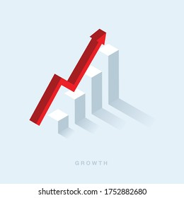 Growth or increase design concept. Graph bar growing up and red arrow moving up. Success achievement or goal business motivation. Infographic elements 3d dimension isometric vector illustration
