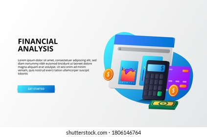 growth market economy, analysis and auditing and consulting finance business concept. 3d calculator, coin, money, graph, credit card for landing page template