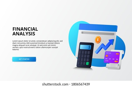 growth market economy, analysis and auditing finance business concept. 3d calculator, coin, credit card for landing page template