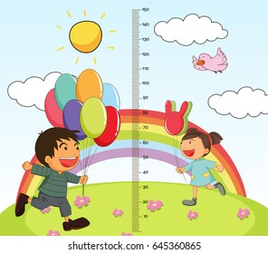 Growth mearsuring chart with girl and boy in park illustration