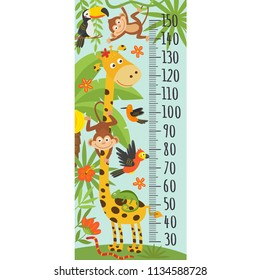 growth measure with giraffe and other jungle animals