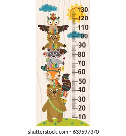 growth measure with tribal animal- vector illustration, eps