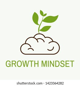 Growth mindset concept. Brain and growing tree. Vector illustration.