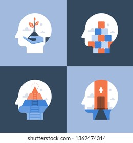 Growth mindset, critical or positive thinking, psychology or psychiatry, self awareness, life long aspiration, happiness pursuit, personal potential development, vector icon, flat illustration