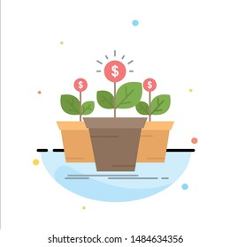 growth, money, plant, pot, tree Flat Color Icon Vector. Vector Icon Template background