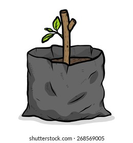 growth plant in plastic bag / cartoon vector and illustration, hand drawn style, isolated on white background.