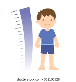Growth progress of a little boy with chart, vector illustration