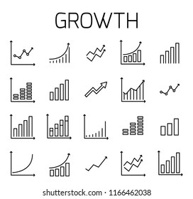 Growth related vector icon set. Well-crafted sign in thin line style with editable stroke. Vector symbols isolated on a white background. Simple pictograms.