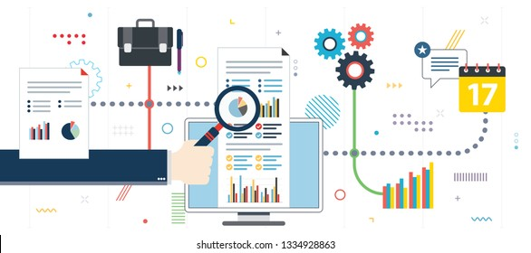 Growth report and finacial investment. Analytics and strategy in financial market. Successful business. Template in flat design for web banner or infographic in vector illustration.