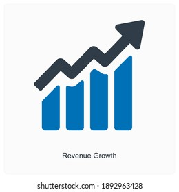 Growth revenue growth analysis growth bars and charts icon concept