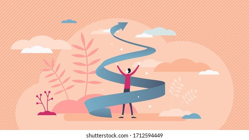 Growth spiral vector illustration. Business development flat tiny persons concept. Increase career and personal improvement visualization with upward spiral arrow and motivation or inspiration symbol.