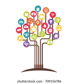 Growth technology tree concept. Abstract of technology. Cloud computing.