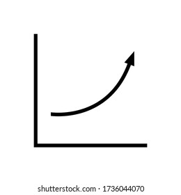 Growth trend icon. Presentation chart with upward curve with exponentially increasing values. Vector Illustration