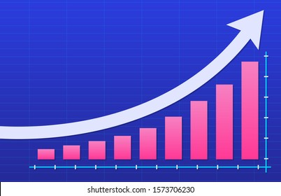 Growth vector diagram with an arrow going up. Success business symbol. Vector illustration.