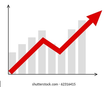 growth vector diagram with red arrow going up